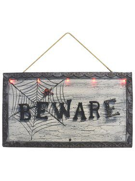 "Light Up Animated 18.5"" Beware Sign"