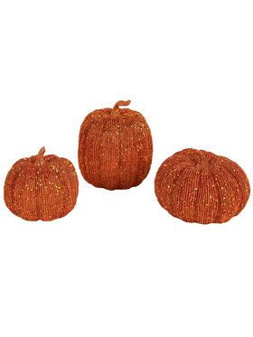 3pc Orange Pumpkin Decoration Set