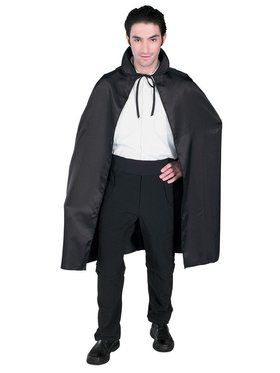 45 Inch Black Taffeta Cape Adult Costume