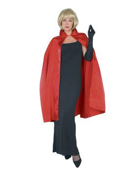 45 Red Satin Cape Adult Costume