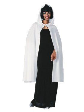 "45"" White Hooded Cape"