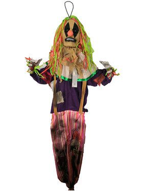 Animated Light Up 5' Hanging Scarecrow Clown