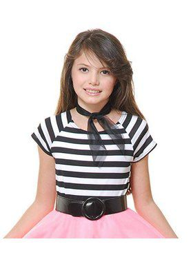 50'S Short Sleeve Top Girl's Costume