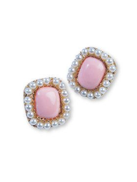 50's Square Earrings - Pink