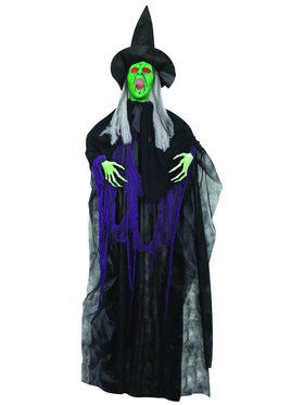 6' Hanging Witch Prop with Lights and Sound