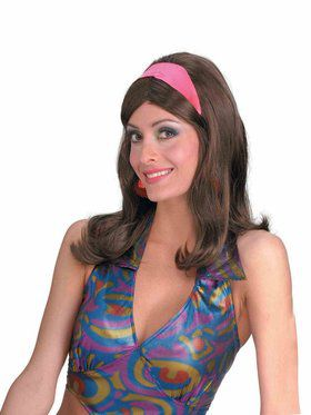 60s Go-Go Brown Adult Wig