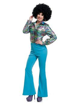 70'S Women Disco Pants - Blue