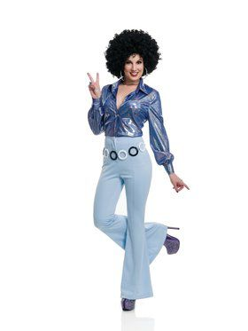 70'S Women Disco Pants - Powder Blue