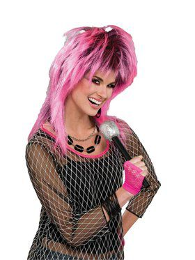 80s Electric Pink Adult Wig