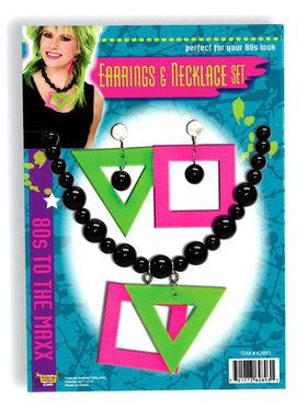1980s Neon Necklace and Earrings Kit