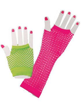 1980s Neon Fishnet Costume Gloves Kit