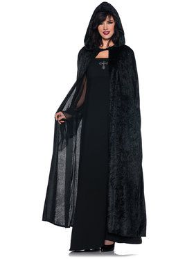 Adult 55' Hooded Unisex Cloak Black