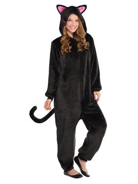 Onesie Black Cat Adult Costume