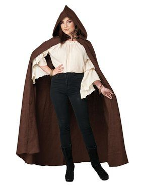 Brown Hooded Adult Cloak