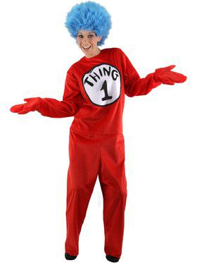 Adult Deluxe Dr Seuss Thing 1 Or 2 Costu