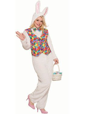 Adult Easter Bunny Costume Jumpsuit with Vest