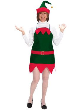 Adult Elf Holiday Apron And Hat Costume