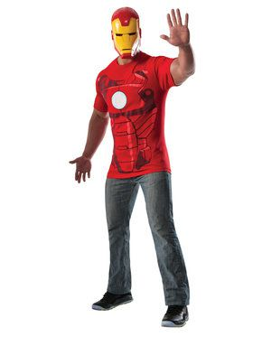 Adult Iron Man Costume Top and Mask