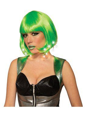Adult Lime Green Light Up Wig