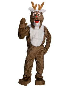 Adult Old Time Reindeer Mascot Costume