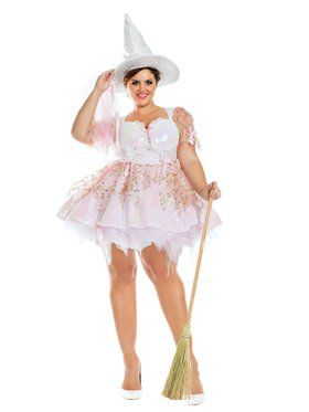 Adult Sassy Plus White Magic Witch Costume