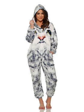 White Face Cat Jumpsuit Adult Costume