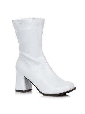 White Patent Mid Calf Adult Gogo Boots