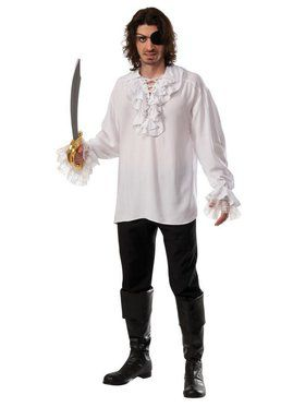 Adult White Ruffled Pirate Shirt