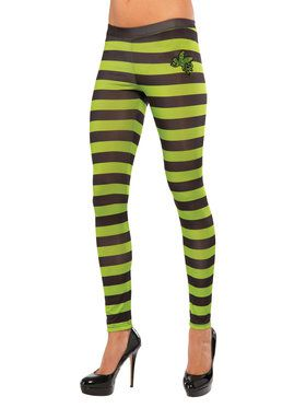 Adult Wicked Witch of the West Green and Black Leggings