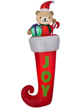 7 Ft Airblown Hanging Teddy Bear in Stocking