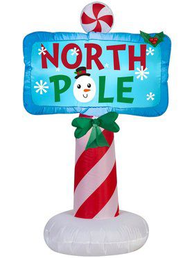 3.5 Ft Airblown Outdoor North Pole Sign
