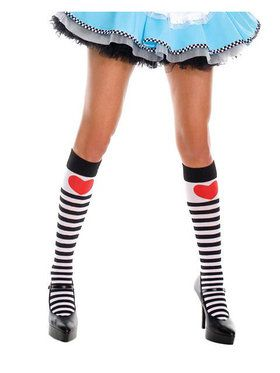 Black and White Striped Alice Knee-High Stockings for Women