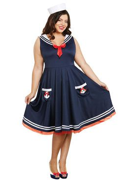 All Aboard Sailor Dress and Hat Adult Costume Plus 1X/2X