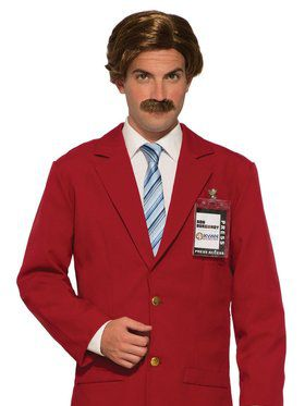 Adult Anchorman Wig & Moustache