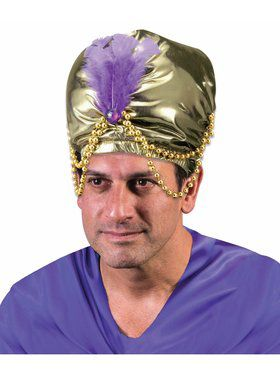 Arabian Sultan Turban With Bead Trim