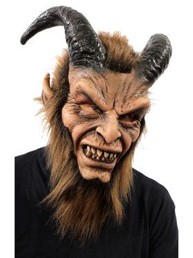 Beautiful Beast Full Mask w/ Horns Faux Fur One Size