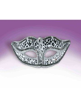 Bejeweled Snow Leopard Mask