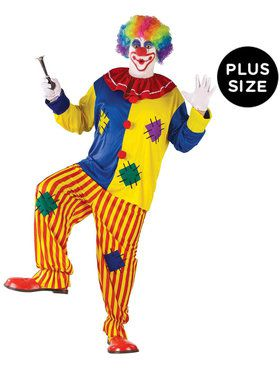 Colorful Big Top Clown - Adult Plus Size Costume