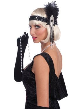 Deluxe Silver and Black Flapper Headband