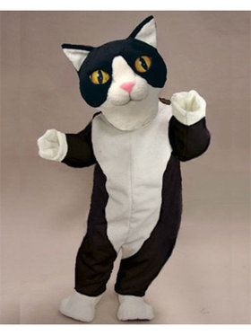 Black and White Cat Mascot Costume for Adults