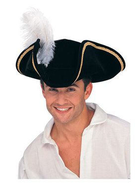 Black Buccaneer Tricorn Hat Adult