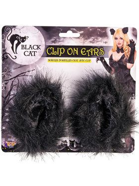 Black Cat Clip on Ears - Adult One Size