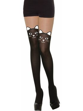 Black Cat Stockings - Adult Standard