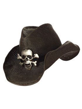 Black Cowboy Hat With Skull And Crossbon
