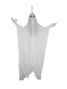 Black-Eyed White Ghost Prop - Hanging