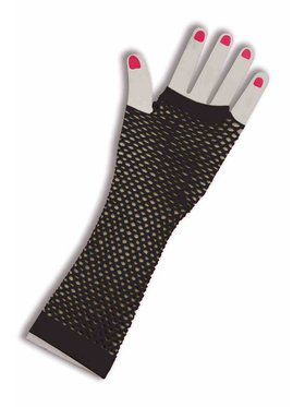 Fingerless Black Fishnet Gloves for Adults