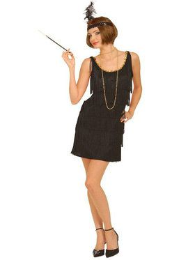 Roaring 20s Flapper Black Ladies Plus Costume