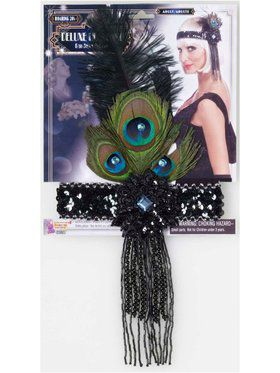 Black Flapper Headband With Peacock Feat