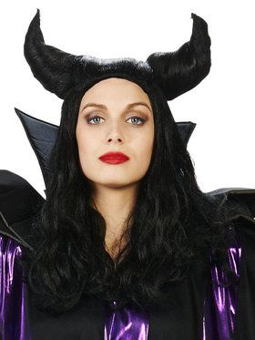 Adult Black Horned Magnificent Witch Wig