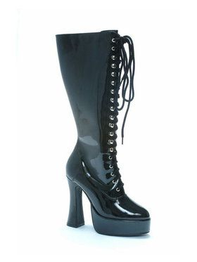 Black Patent Lace-up Boots